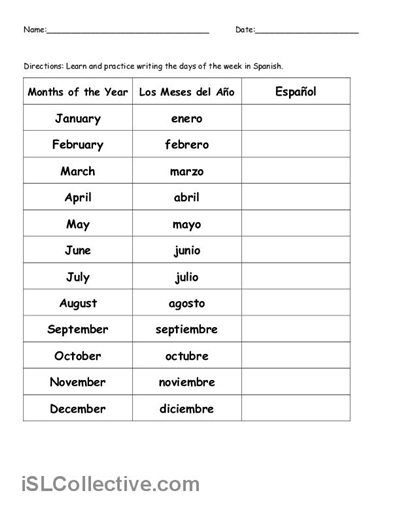 Worksheet Free Printable Spanish Worksheets For Beginners 8 best images of printable spanish worksheets high school free months
