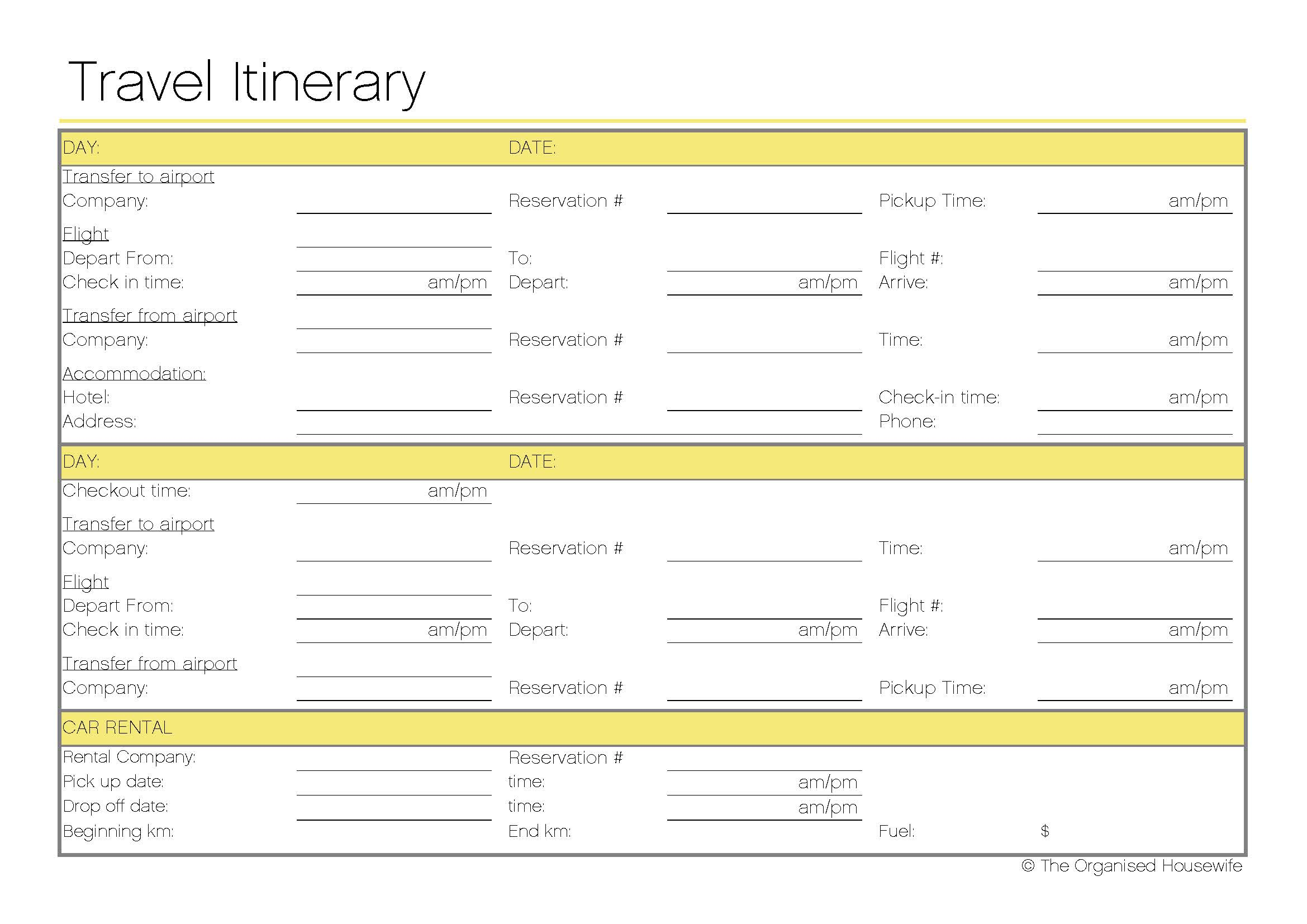 4 Images of Free Printable Travel Itinerary Templates