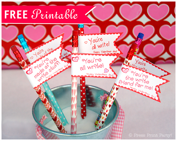 Free Printable Valentine Pencil Toppers