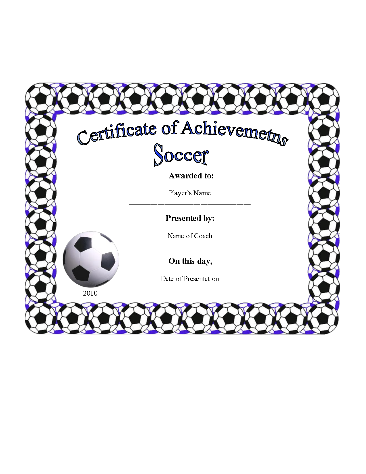 7 best images of free printable soccer certificate