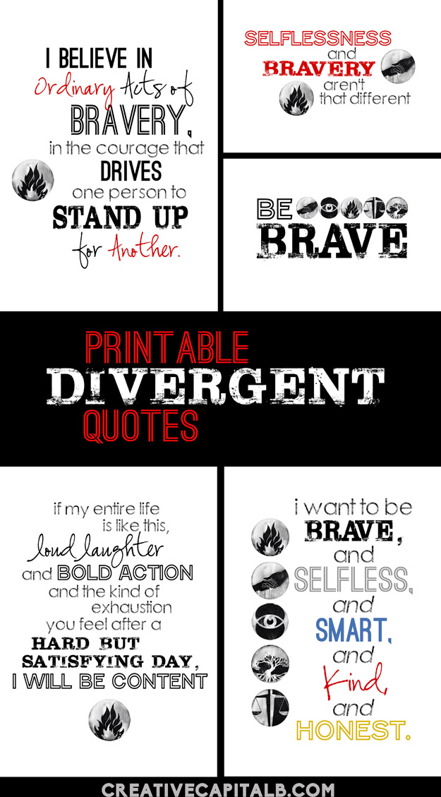 4 Images of Printable Divergent Bookmarks