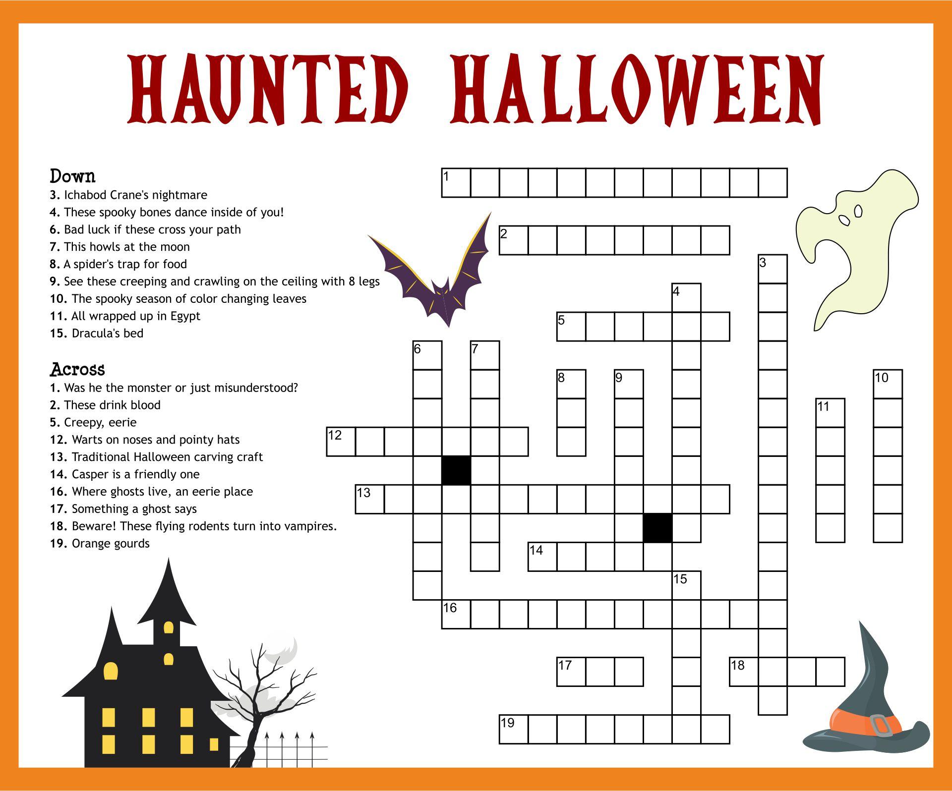 Halloween Crossword Printable