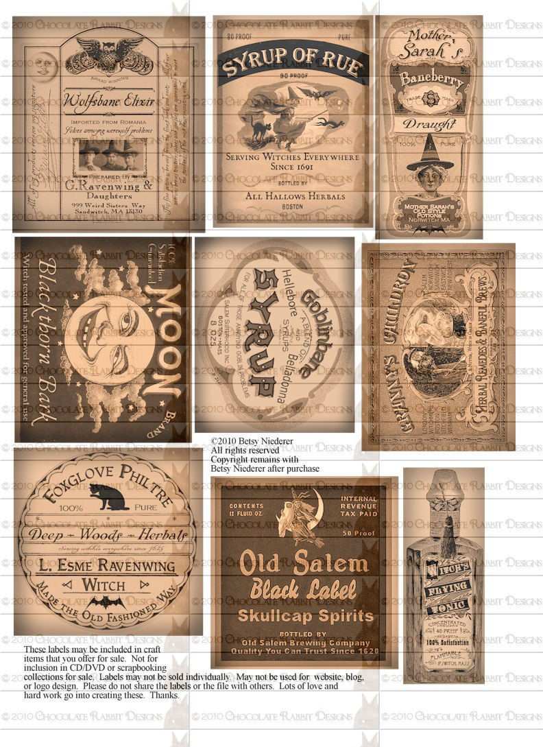 9 Images of Witch Potion Labels Printable