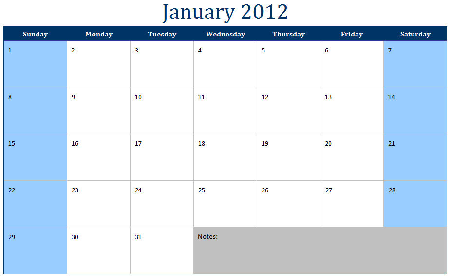 5 Images of Free Printable 2012 Monthly Calendar Template