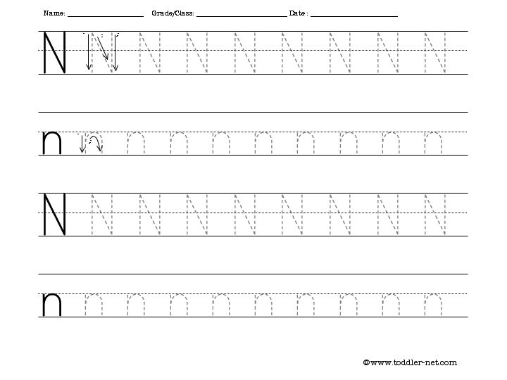 9 Images of Trace Letter N Printable Worksheets