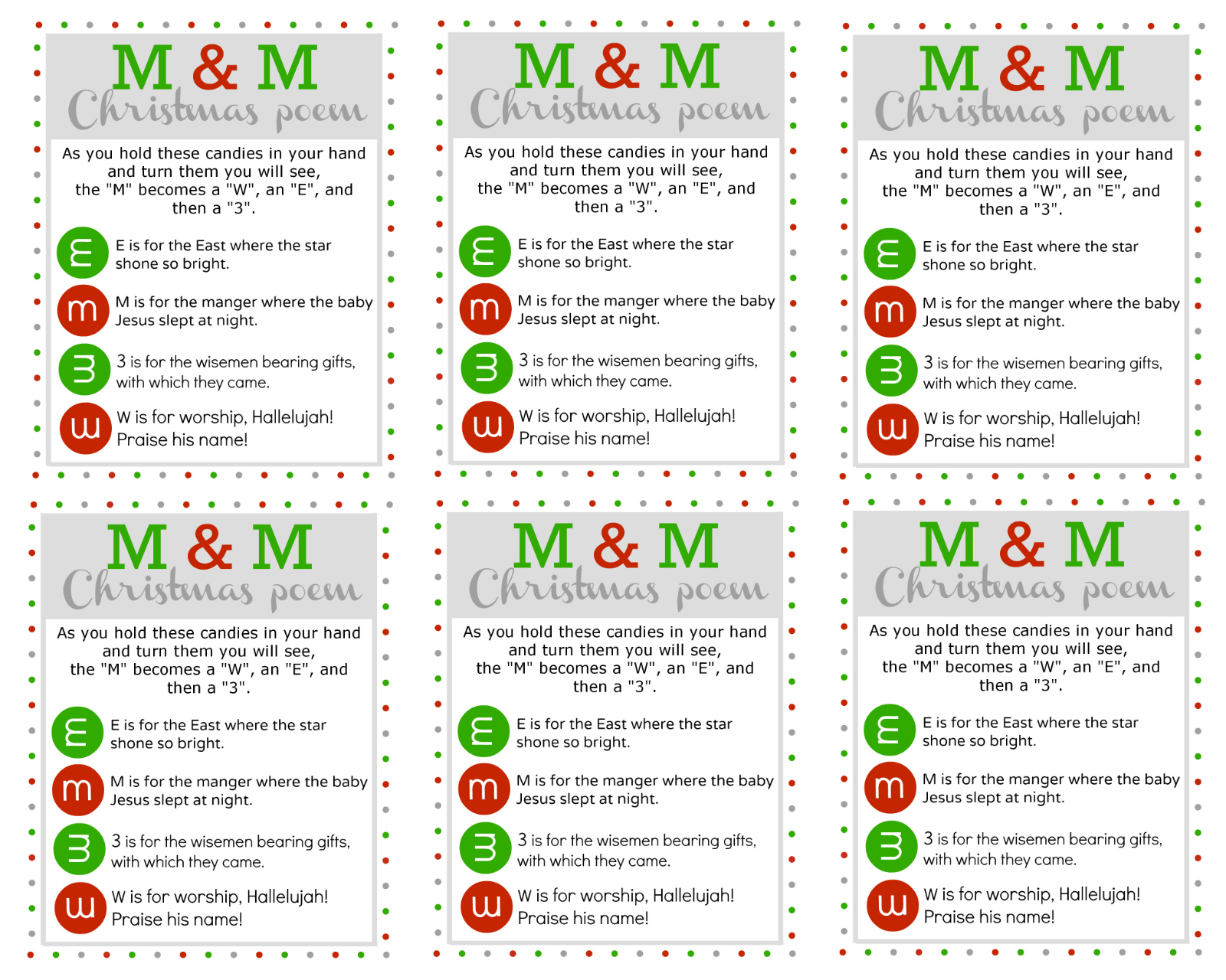 M M Christmas Poem Printable