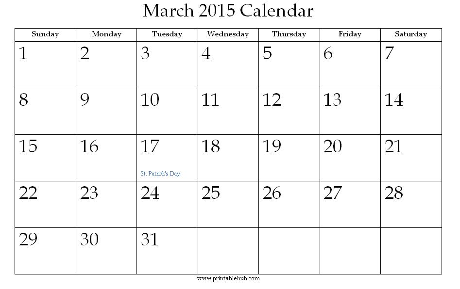 4 Images of March 2015 Calendar Printable PDF