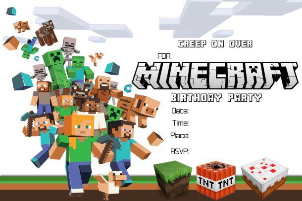 8 Images of Free Printable Minecraft Birthday Invitations