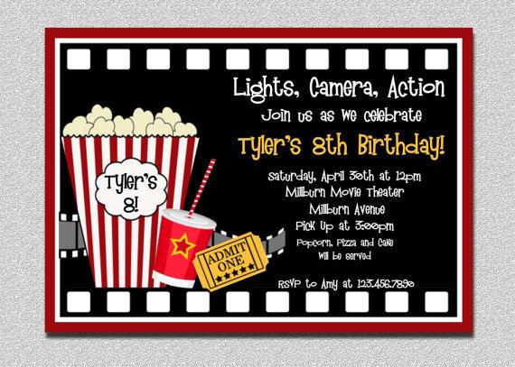 Movie Night Birthday Party Invitations Printable