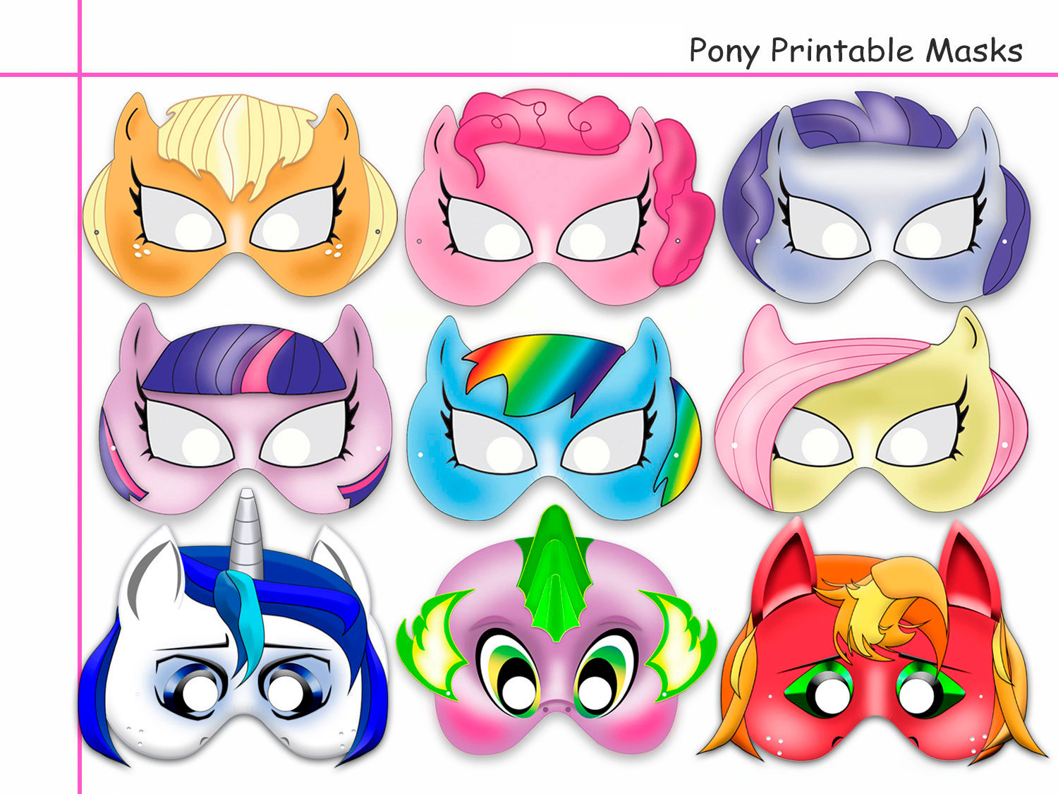 See my little pony mask printable my little pony mask amp my little