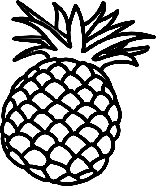 Pineapple Clip Art Black and White