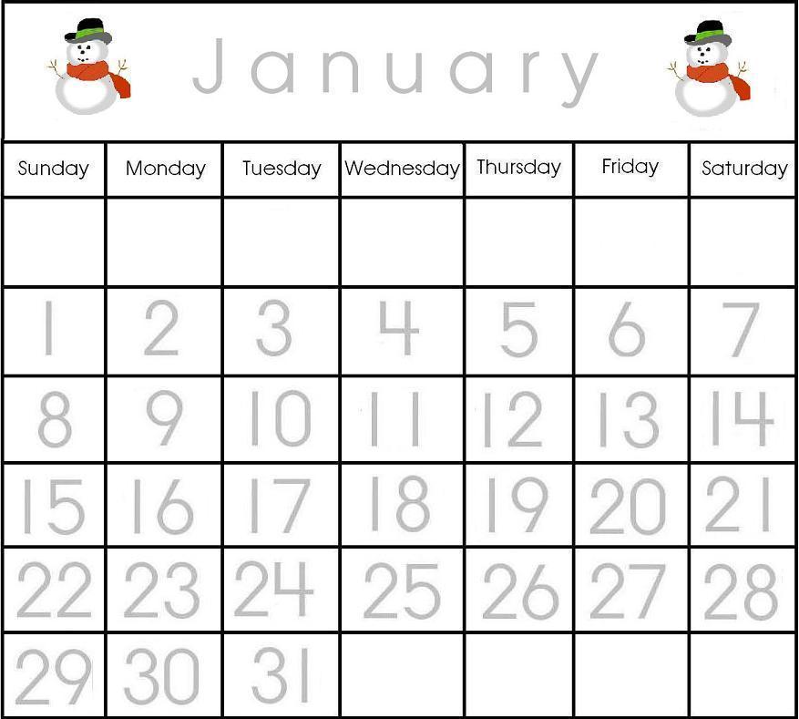 8 Images of January 2016 Calendar Printable Preschool