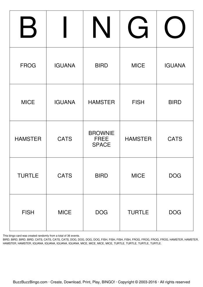 8 Images of Printable Pet Bingo Cards