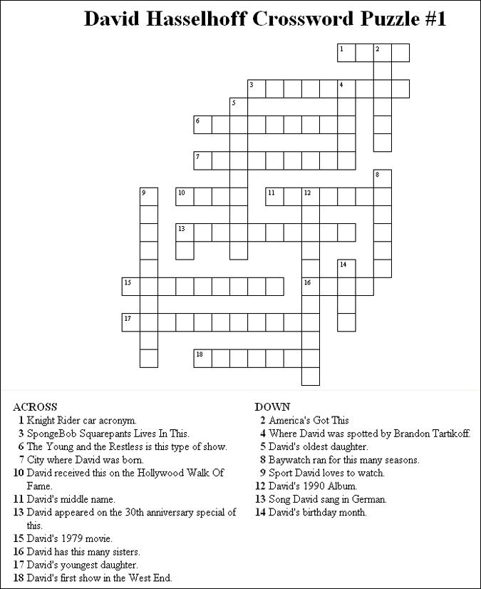Printable Crossword Puzzles