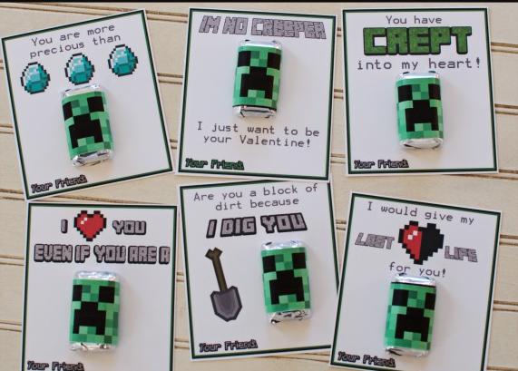 Printable Minecraft Valentine's