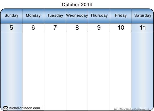 8 Images of Printable Weekly Calendar October 2014
