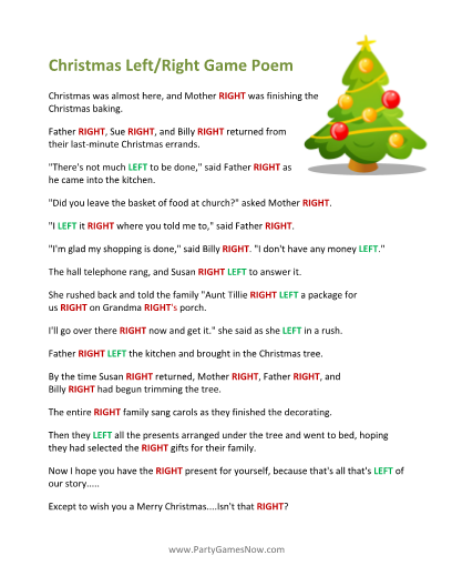 4 Images of Printable Right Left Christmas Game