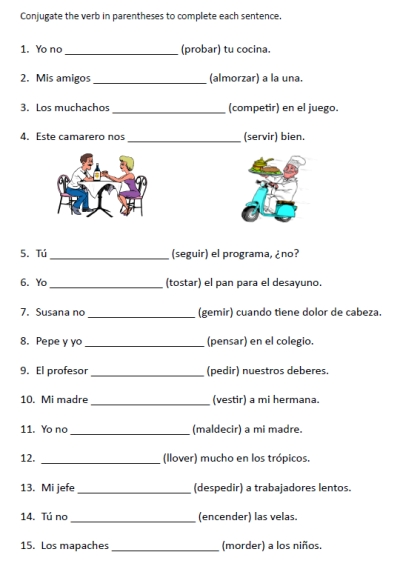 Worksheets Spanish Worksheets For High School 8 best images of printable spanish worksheets high school via stem changing verbs worksheet