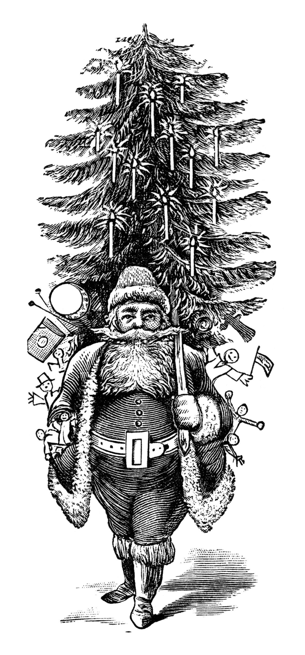 Vintage Christmas Clip Art Black and White