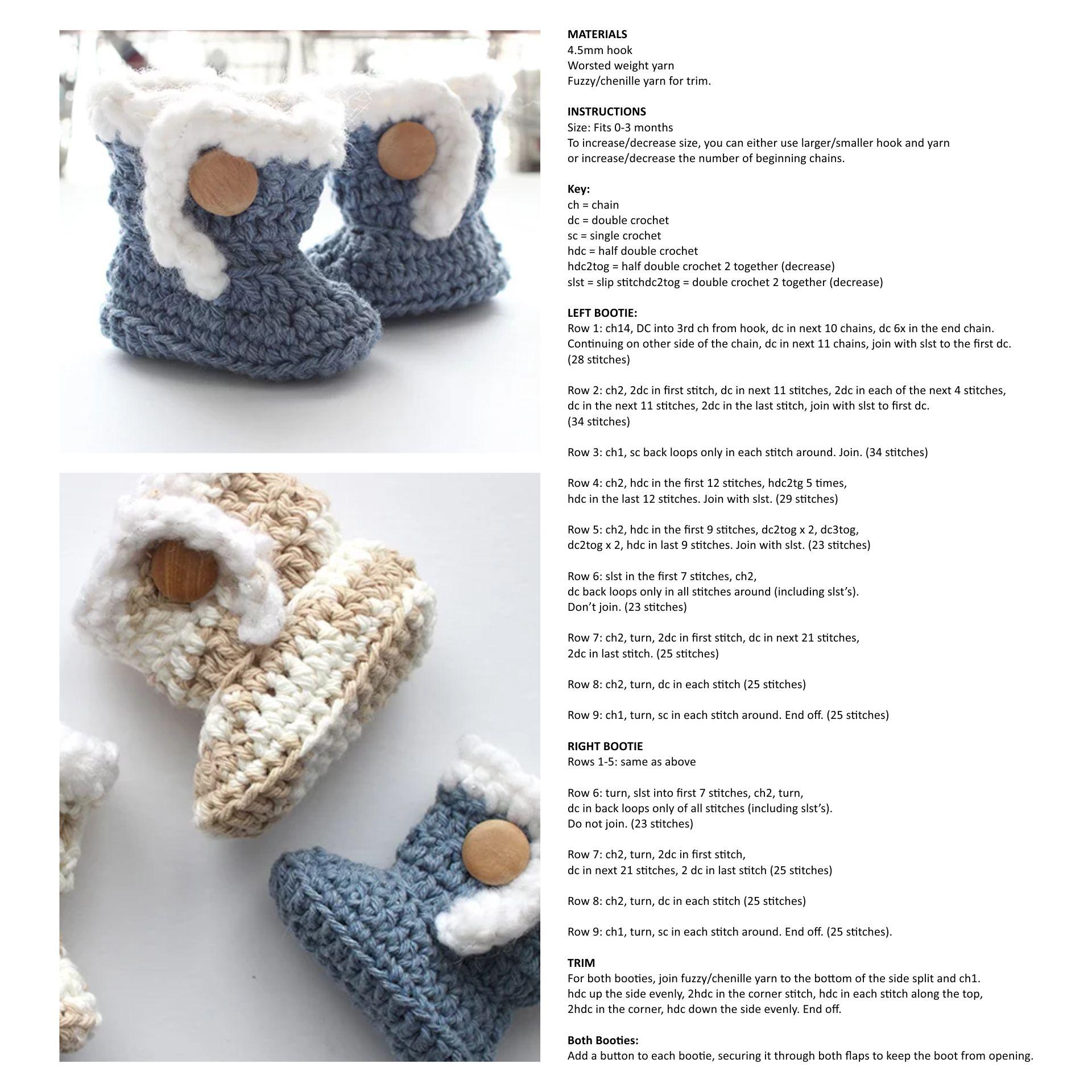 Wrap around Crochet Baby Booties Pattern