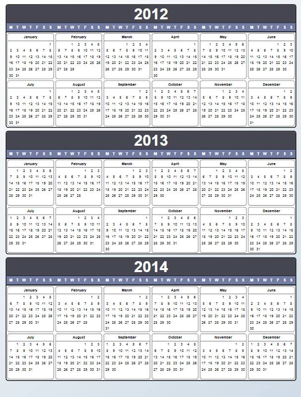 8 Images of 2012 2013 2014 Yearly Calendar Printable