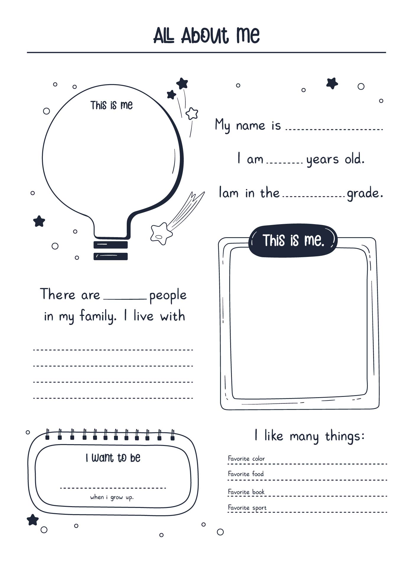All Worksheets First Day Of School All About Me Worksheets – All About Me Worksheet for Adults
