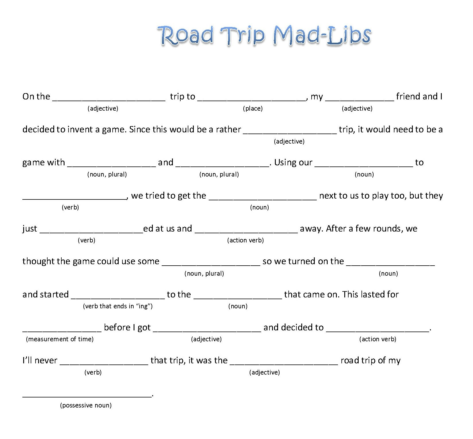6 Images of Funny Blank Mad Libs Printable