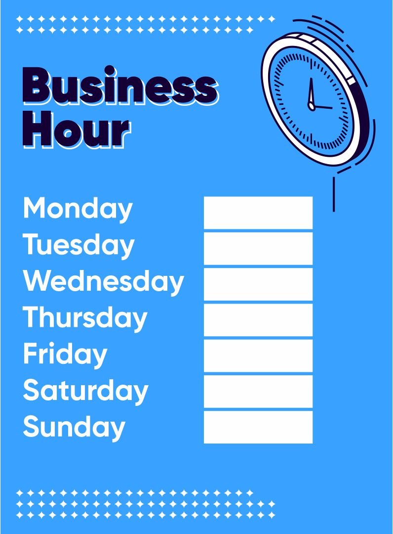 Hours sign template business hours sign template free office hours
