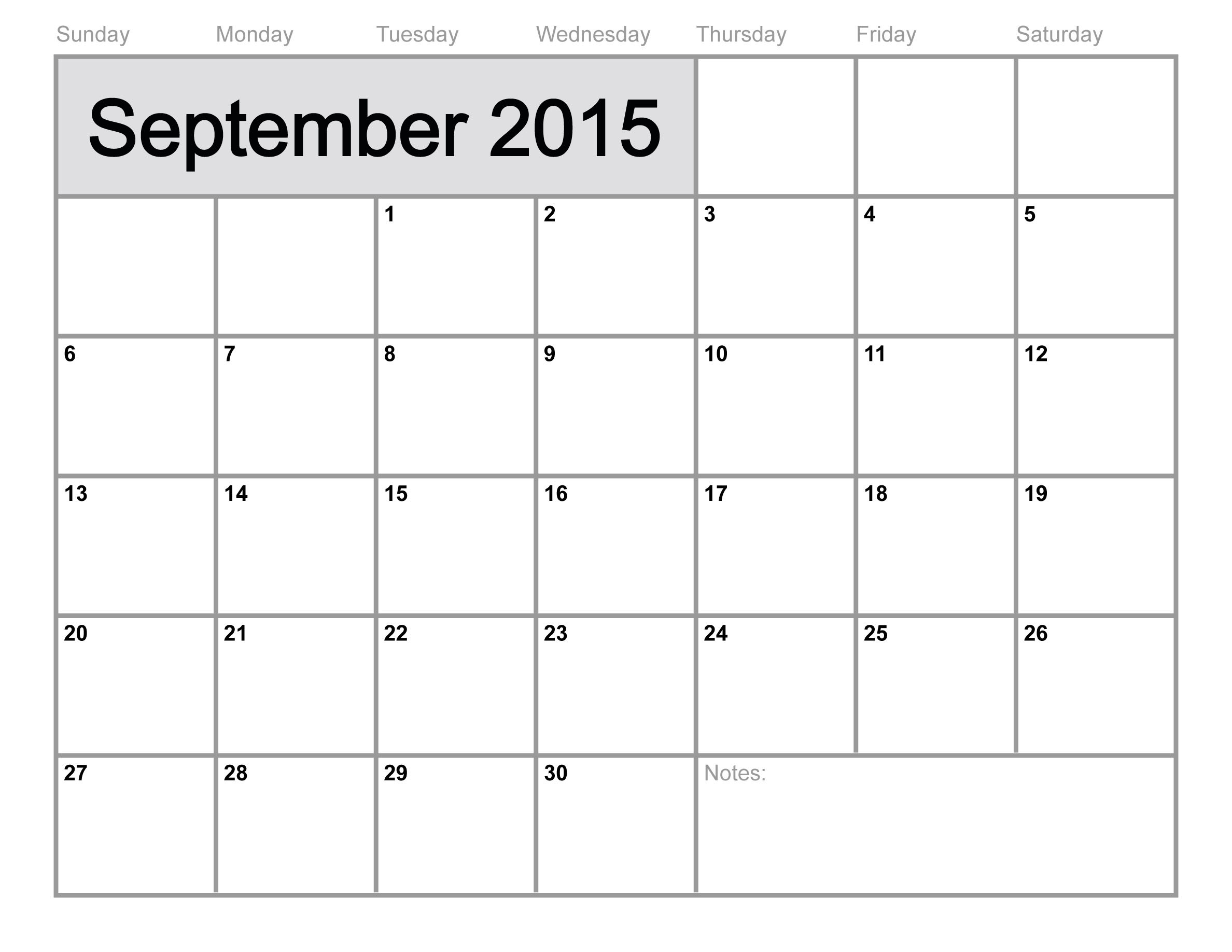 7 Images of Blank September 2015 Calendar Printable