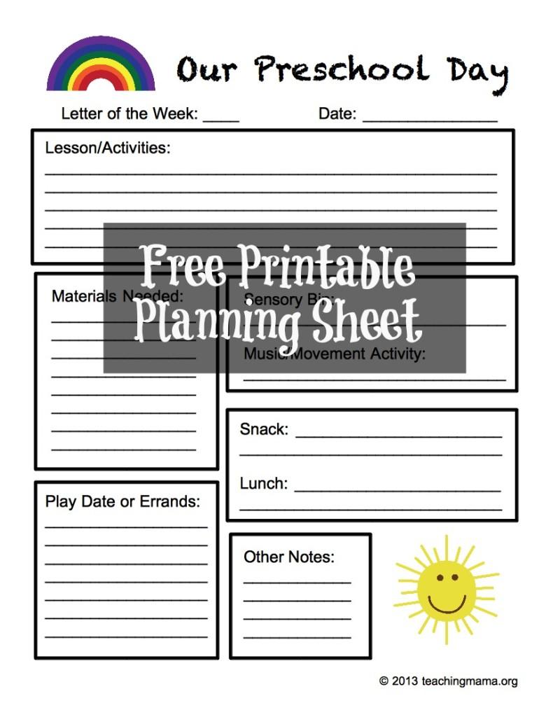 activity planning sheet