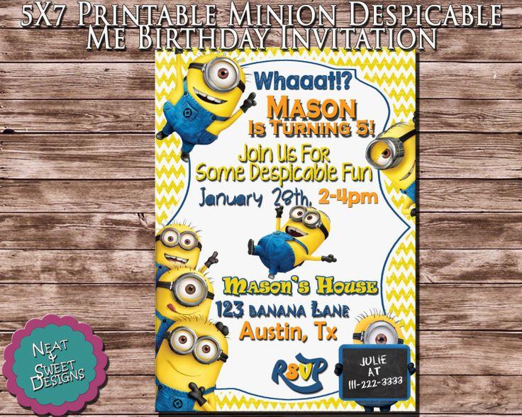 Despicable Me Minion Birthday Invitation