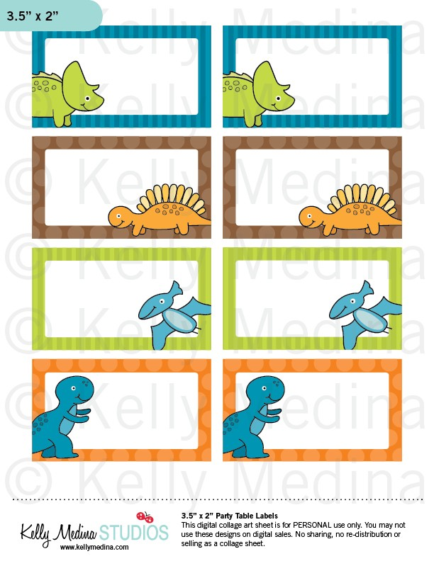 4 Images of Dinosaur Food Labels Printable