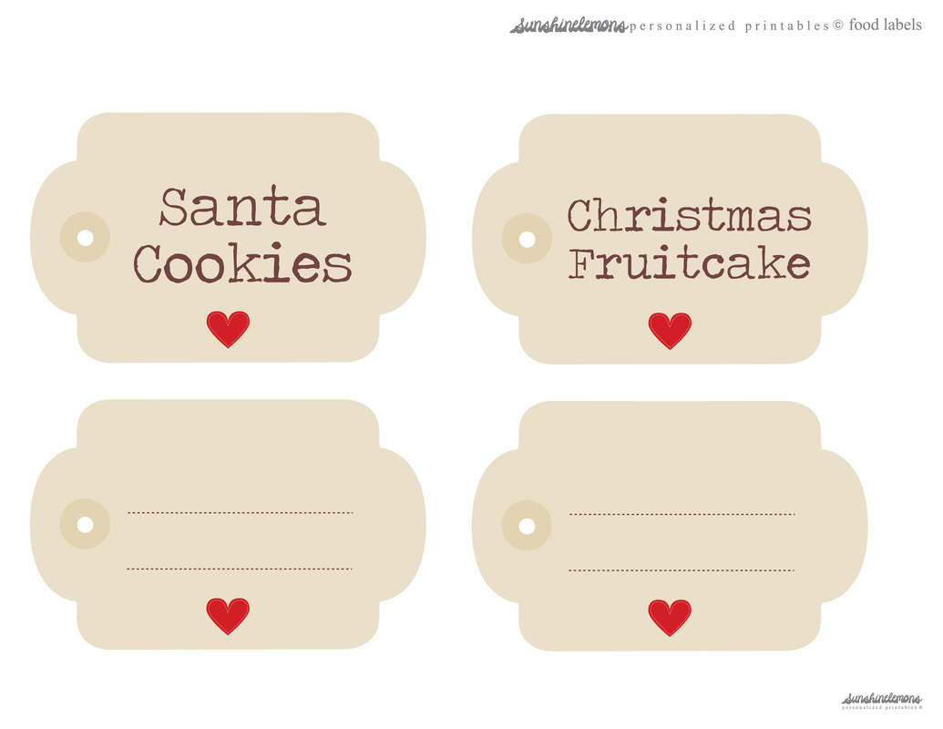 Free Christmas Printables Food Labels