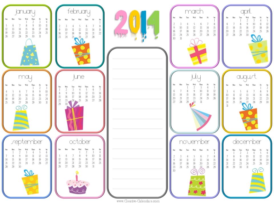 Free Printable Birthday Calendar Template
