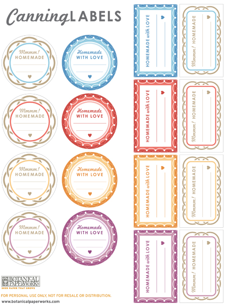 Free Printable Canning Label Templates