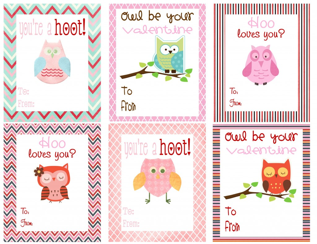 6 Images of Printable Owl Valentine's Day Cards