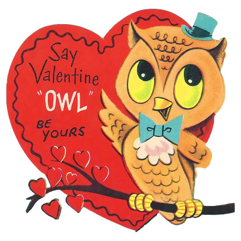 Free Printable Vintage Valentine Owl