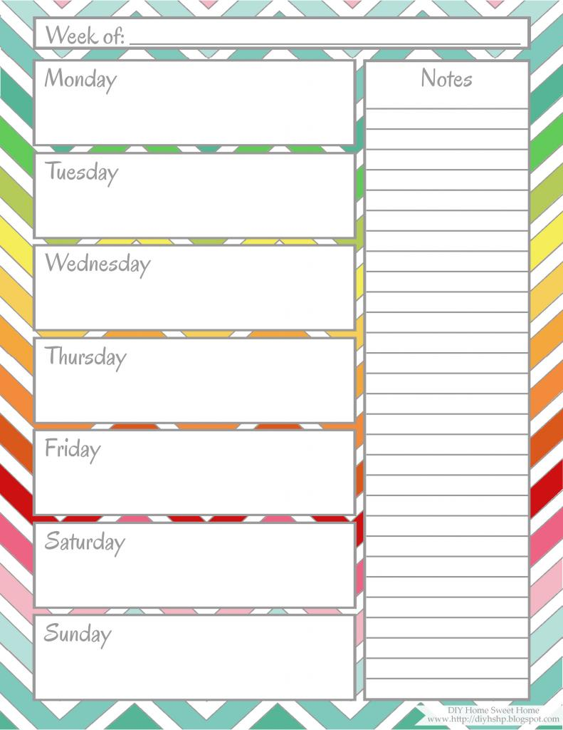 Cute Weekly Calendar Template : Best images of cute printable weekly calendar sheets