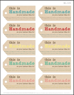 Handmade Gift Labels Printable Free