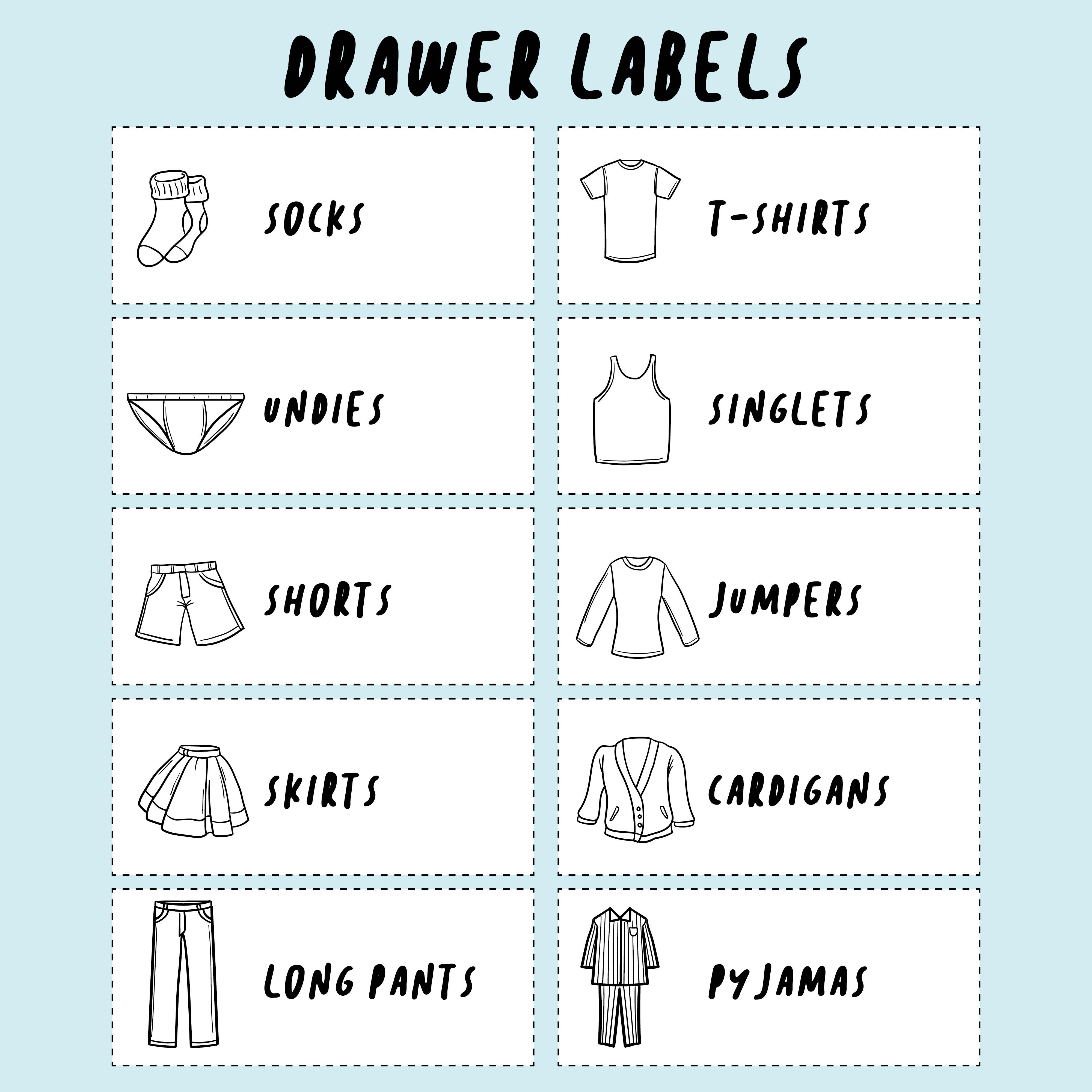Kid Drawer Labels Printable Free