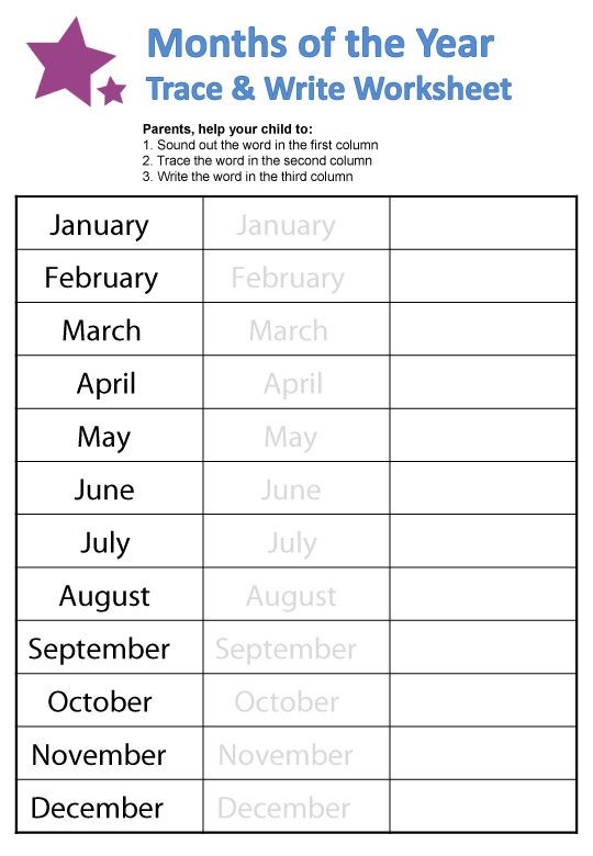 8 Best Images of Printable Worksheets About Months Of The ...