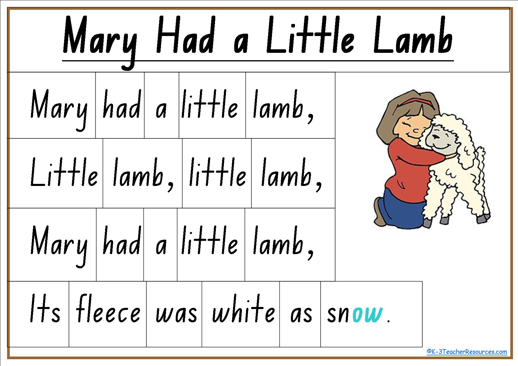 4 Best Images Of Mary Had A Little Lamb Nursery Rhyme
