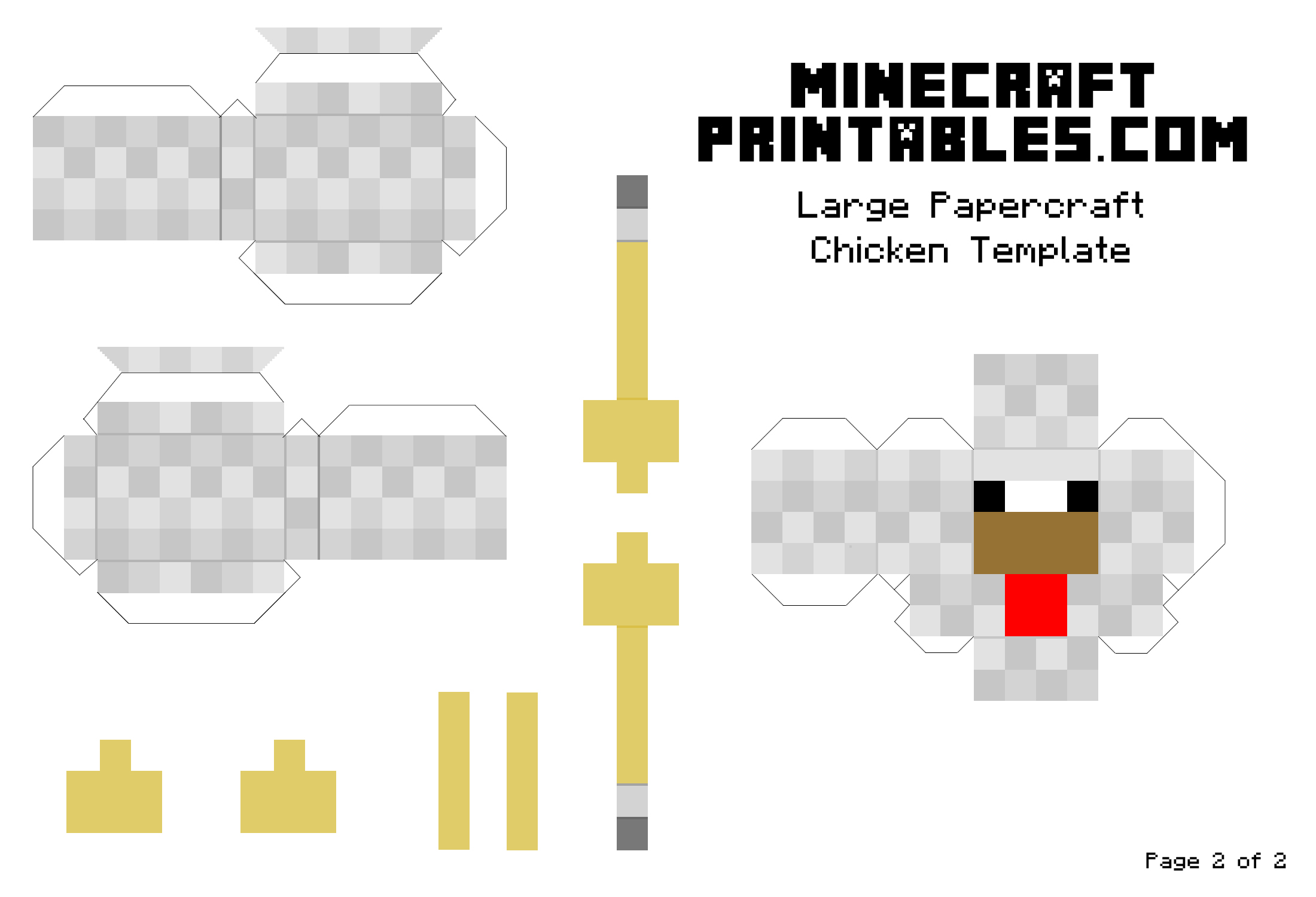 6 best images of chicken templates printable minecraft for Minecraft cut out templates