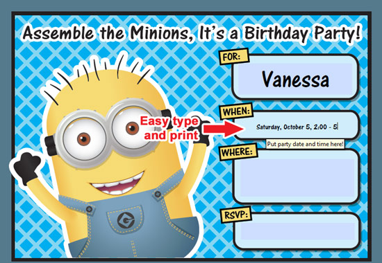 8 Images of Printable Despicable Me Minion Birthday