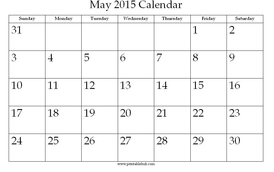 Month of May 2015 Calendar Printable