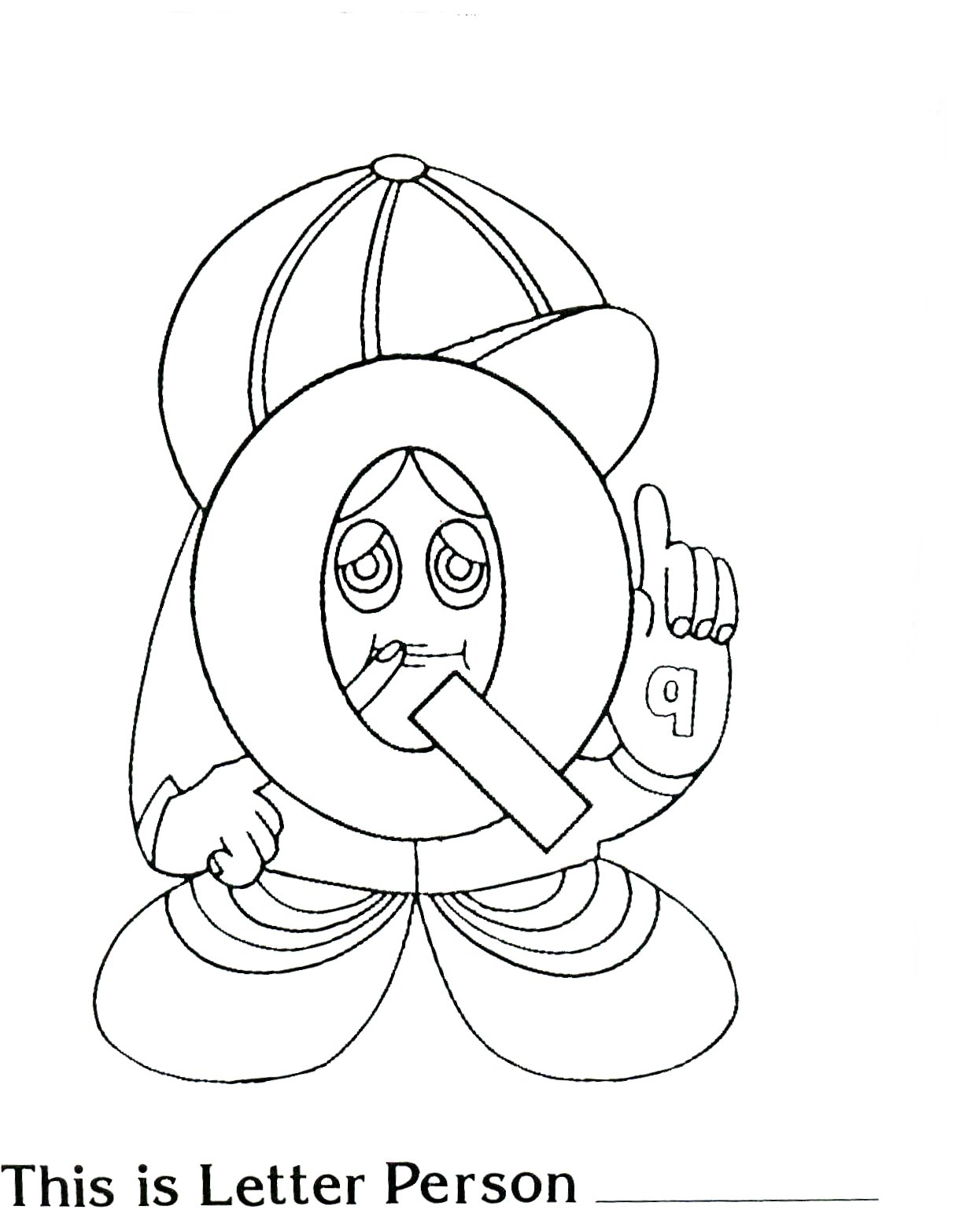 Mr Q Letter People Coloring Page