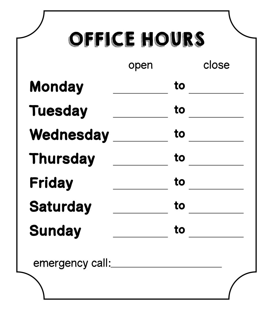 21 Best Free Printable Business Hours Sign Template - printablee.com With Regard To Hours Of Operation Template Microsoft Word
