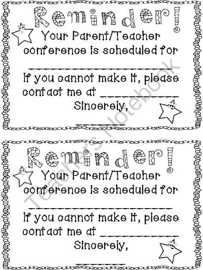 7 Images of Free Printable Parent Teacher Conference Reminder Note
