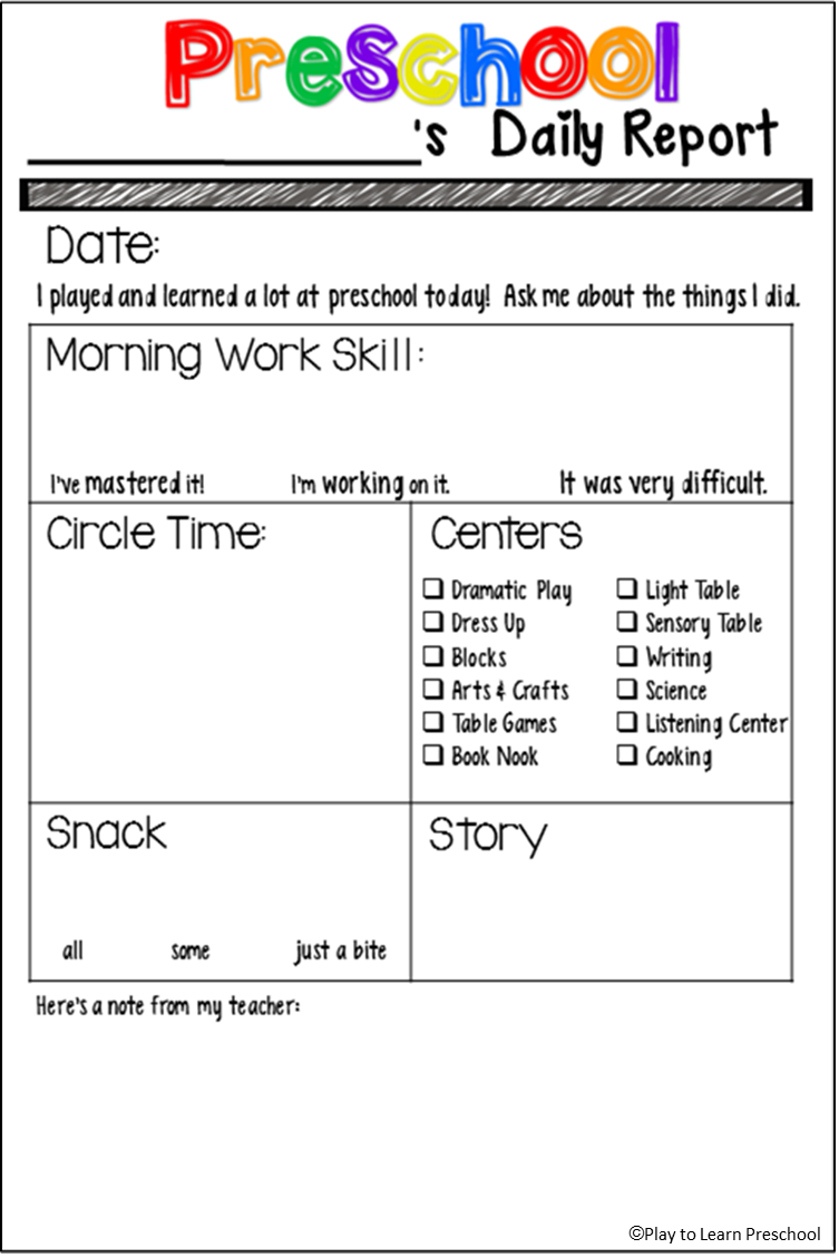 9 best images of preschool daily sheets printable