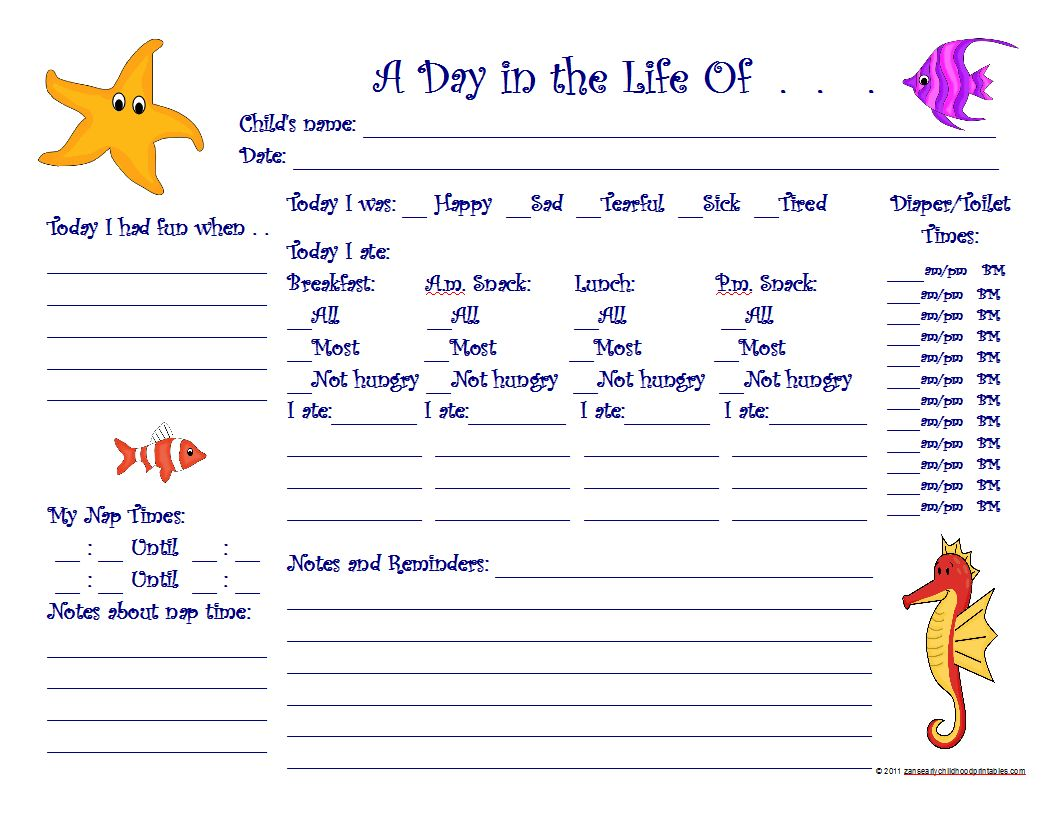 9 Images of Preschool Daily Sheets Printable